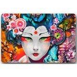 Japanese Art Geisha Girl Psychedelic Mat Floor Mat Door Mat Neoprene Rubber Non Slip Backing Machine Washable (23.6''x15.7'',L x W) by Doormats
