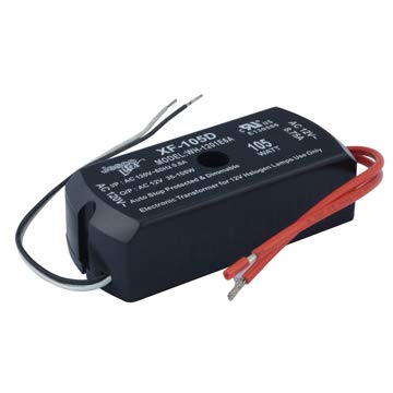 JESCO Lighting XF-105D 12V AC Electronic Transformer. No Twist, Push Wire Conductor Terminals Included.