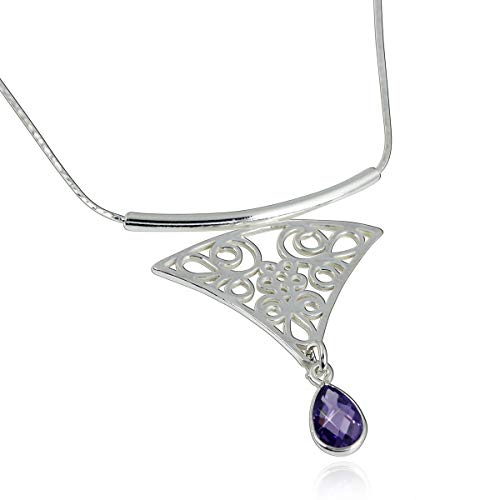 Triangular Floral Design Necklace with Teardrop Purple Cz in 925 Sterling Silver, 18