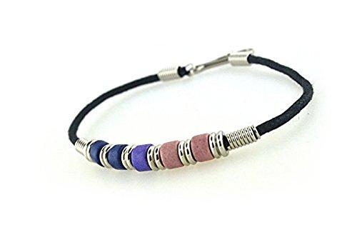 Bi Pride Plain Bead Wristlet Bracelet - Bisexual LGBT Pride Jewelry (Bi Pride Flag Plain Bracelet)