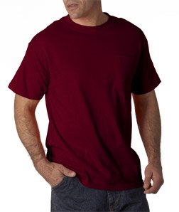 Adult Cotton Tee Shirt with Pocket, Color: Maroon, Size: Large