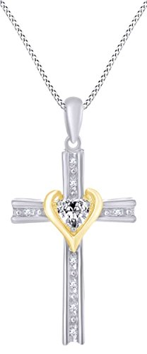 - AFFY Heart Shape Simulated White Topaz Cross Pendant Necklace in 14k White Gold Over Sterling Silver (0.33 Cttw)