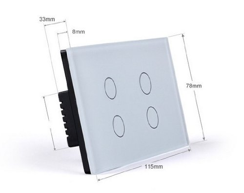US/AU Standard, Touch & Remote Switch, VL-C304R-81, 4 Gang 1 Way, Ivory White Crystal Glass Panel, Wall Light Touch Switch+ LED Indicator by NIMTEK (Image #2)