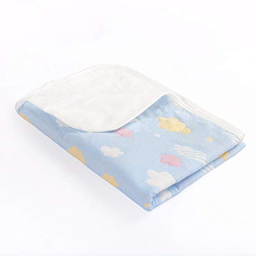 NTBAY Baby Crib Diaper Changing Pad Muslin Cotton Bamboo Fiber Breathable Waterproof Underpads Mattress Sheet Protector with Cloud Pattern, Blue, 28x 47