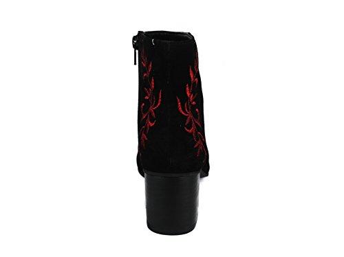 Mujer Mujer burdeos Botines Piel Botines Negro Botines Botines Botines de Tacón Medio de para Mujer Zerimar Mujer Tacon Tacon Piel Piel 1gU7xq