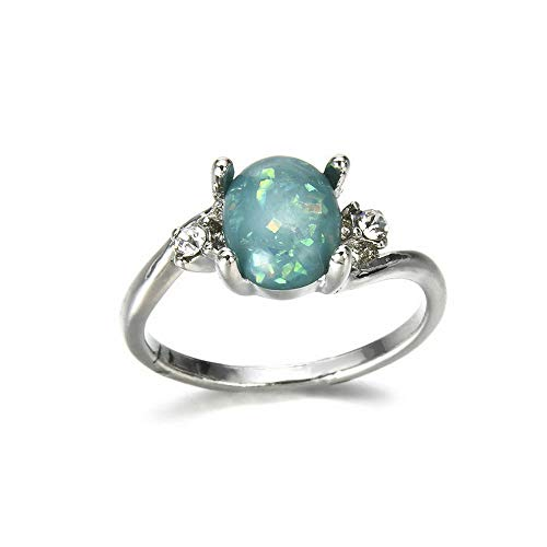 (Monowi Women Green Fire Opal 925 Silver Wedding Engagement Party Ring Size 5-11 New | Model RNG - 6353 |)