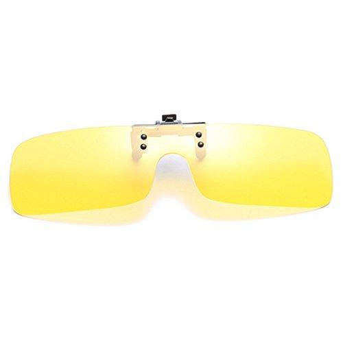 polarizadas Hombres visión nocturna sol gafas gafas gafas Flip Inlefen de Mujeres Clip en día Up miopía sol Retro de UV400 Amarillo de de gafas q8TUxndnP0