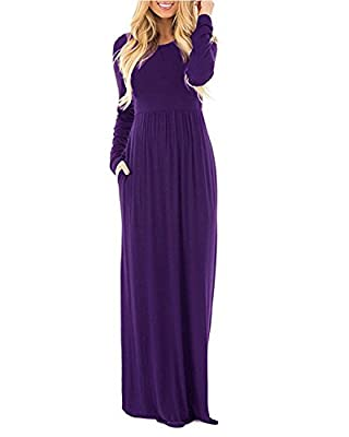 GIKING Women's Long Dress Full Length Long Sleeve Party Maxi Dresses with Pocket