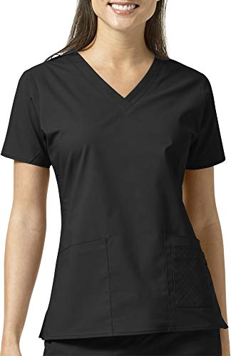 Vera Bradley Signature Collection Women's Maya V-Neck Quilted Scrub Top- Black- ()