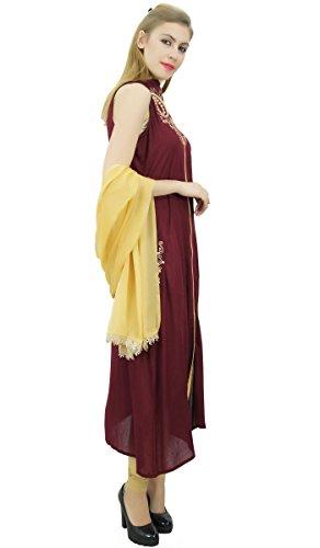 und Anzug bestickt Rayon Beige Dupatta Frauen Dunkelrot Atasi Ethnic Indian Set mit xv4q4X
