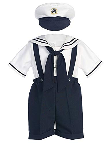 Classykidzshop Navy Sailor Boy Shirt, Shorts, Tie and Hat (Baby-ExtraLarge)]()