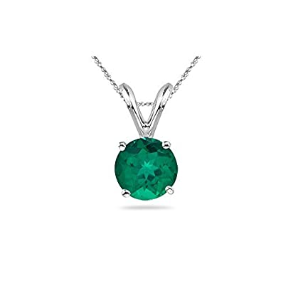 Round Russian Lab Created Emerald Solitaire Pendant 3mm-8mm Sizes in 14K White Gold