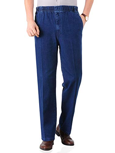 (Soojun Mens Seniors Casual Loose Fit Elastic Waist Denim Pants, Indigo, 38W x 32L)