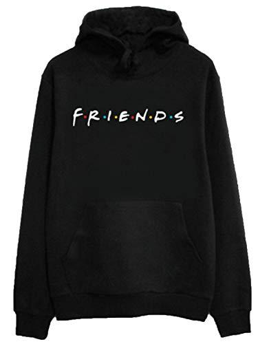 Womens Black Loose Friends Hoodie Cotton Blend TV Show Hooded Sweashirt Pullover Tops S (Best Friend Pullover Hoodies)