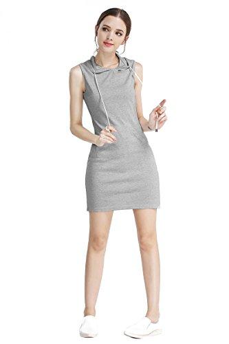 AEETE Fashion Womens Summer Casual Sleeveless Hoody Dress