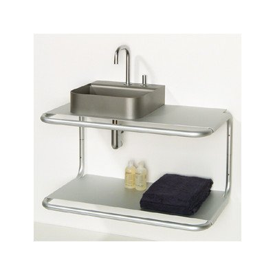 Whitehaus AELA285 Double Shelf Wall Mount Structure with Towel Bar, Aluminum ()
