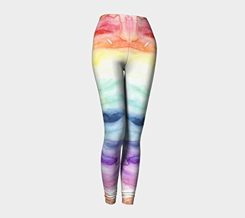 Rainbow Watercolor Eco-Friendly Printed Art Leggings