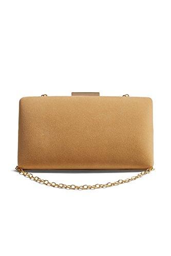 Lined Vintage Clutch (Women Velvet Clutch Purse Evening Bag Hard Box Vintage Handbag With Chain Strap (caramel))