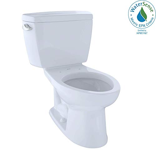 TOTO CST744EL#01 Eco Drake Two-Piece Elongated 1.28 GPF ADA Compliant Toilet, Cotton - Low Toilet Flush