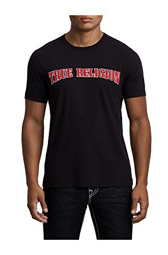 (True Religion Men's Embroidered Felt Icon Applique Logo Tee T-Shirt in Black (Medium))