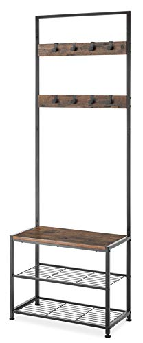 (Whitmor Modern Industrial Entry Way Tower/Bench with Shoe Shelves)