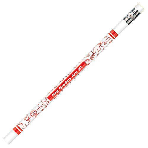 - Moon Products Dozen Decorated HB 2 Wood Pencil, First Graders are #1, White (MPD7861B)
