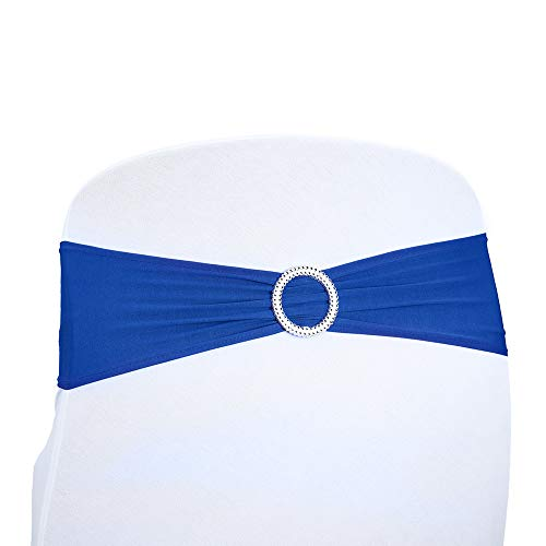 Kivvo 50pcs Spandex Chair Sashes Bands for Wedding Chair, Chair Covers Bow Back for Dining Chair, Chair Ribbons (Royal Blue)