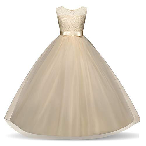 Big Girl Sleeveless Lace Flower Girl Gray Princess Dress Tulle Long Maxi Gown Kids Wedding Bridesmaid Formal Pageant Dresses Light Yellow 14-15 Years]()