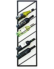 LIFA LIVING Modern Wijnrek, Zwarte Wijnflessenhouder, Metalen Wijnhouder, Rechthoekige Muur Wijnflessenhouder, Hangende Flessenhouder voor Woonkamer, Keuken, 30 x 9.5 x 99.5 cm