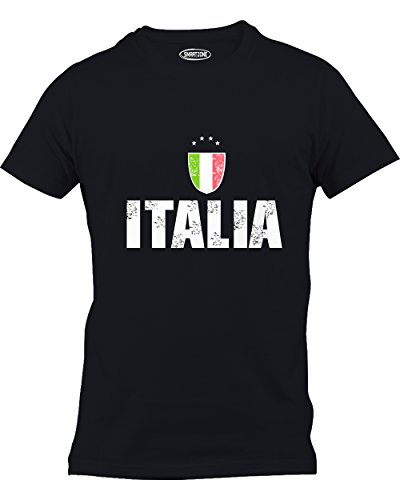 Smart Zone ITALIA | Italy Futbol (Italian National Soccer) Vintage-Look T-shirt Black XXX-Large