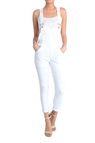 American Bazi Women's Solid Skinny Overalls RJHO378 - WHITE - X-Large - J18F