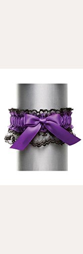Black Lace with Satin Bow Garter Style DB20-2003, Purple