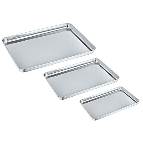 Baking Sheet Set of 3, P&P Chef Stainless Steel Cookie Sheet Toaster Oven Pans, Healthy & Non Toxic, Mirror Finish & Rectangle, Easy Clean & Dishwasher Safe