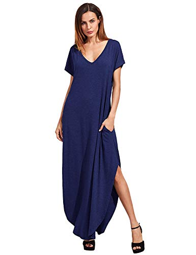 - Verdusa Women's V Neck Side Pockets Split Hem Beach Long Maxi Dress Navy S