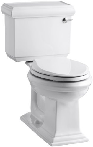 KOHLER K-3816-RA-0 Memoirs Comfort Height Two-Piece Elongated 1.28 gpf Toilet with Classic Design with Right-Hand Trip Lever, White