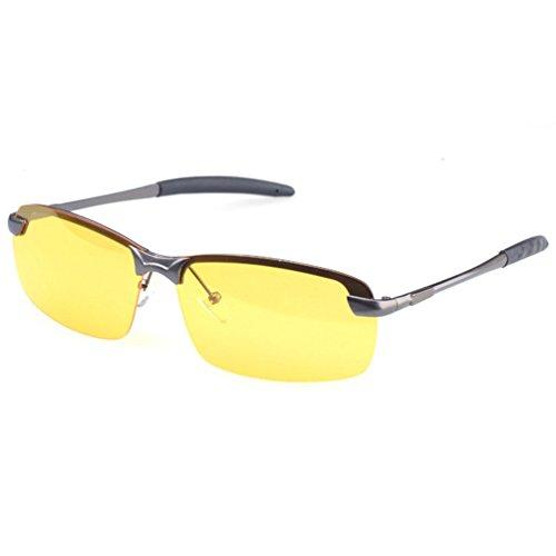 de Eyewear Femmes UV Protection Polarisées Cadre Hommes Ski LINNUO Soleil Sunglasses Pêche Gris Lunette Jaune Conduite Lentille Lunettes 50UIq6