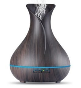 Arrbee's Aroma Essential Oil Diffuser/Wood Grain, & 7 Color Changing LED Mood Night Lights. Best Air Antimicrobial Purifier Aroma & Odor Eliminator, Therapeutic Applications (Black) 400ML