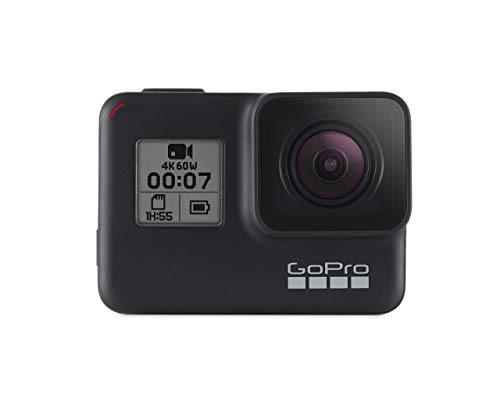 (GoPro HERO7 Black — Waterproof Digital Action Camera with Touch Screen 4K HD Video 12MP Photos Live Streaming Stabilization)