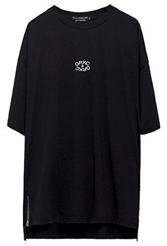 PIZOFF Unisex Hip Hop Short Sleeve Side Zipper with Step Hem Back Bandage Print Ragland Sleeve T-Shirt C7017-01-S