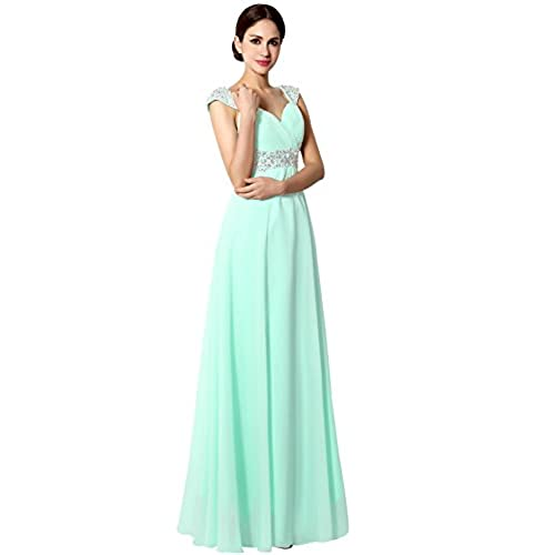 Sarahbridal Junior Chiffon Bridesmaid Gown Beaded Formal Prom Ball Dresses Long Mint US18