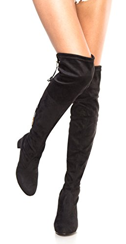 OLIVIA K Womens Thigh High Boots Over The Knee Party Stretch Block Mid Heel Size ()