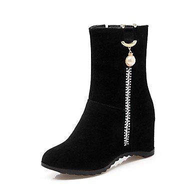 RTRY Zapatos De Mujer Polipiel Comodidad En El Invierno Botas De Tacón Cuña Round Toe Botines/Botines Estrás Por Parte &Amp; Traje De Noche Negro Negro Us2.5 / Ue32 / Uk1 / Cn31 US10.5 / EU42 / UK8.5 / CN43