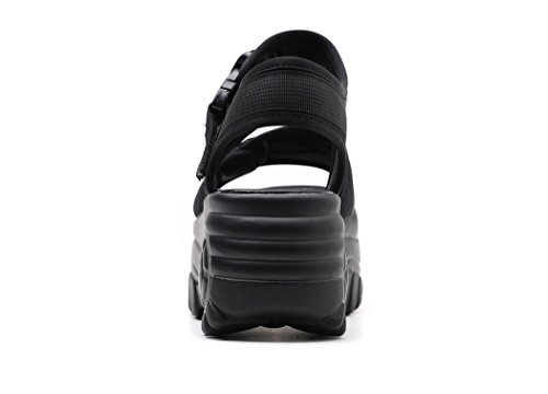 Rojo Negro Zapatos para DANDANJIE caseros de con Antideslizantes Mujeres cuña Sandalias Negro Zapatos Forma de Sandalias tacón pwpOa61x