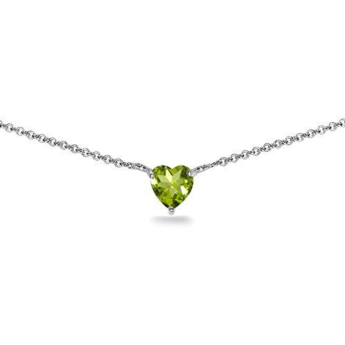 Sterling Silver Peridot 7x7mm Heart Shaped Dainty Choker Necklace