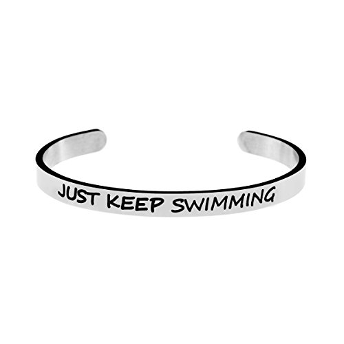 Inspirational Bracelet Personalized Quote Cuff Bangle 316 Stainless Steel Jewellery Saying Just Keep Swimming by Joycuff