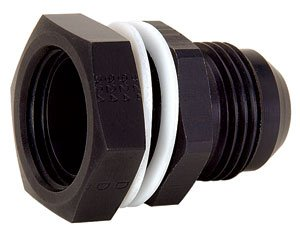 JEGS Performance Products 110563 Black High-Flow Fuel Cell Bulkhead Fitting - Fitting Black Poly Bulkhead