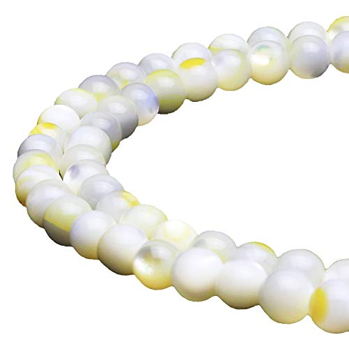 JARTC Natural Yellow Pearl Oyster Round Loose Beads for Jewelry Making DIY Bracelet Necklace (6mm)