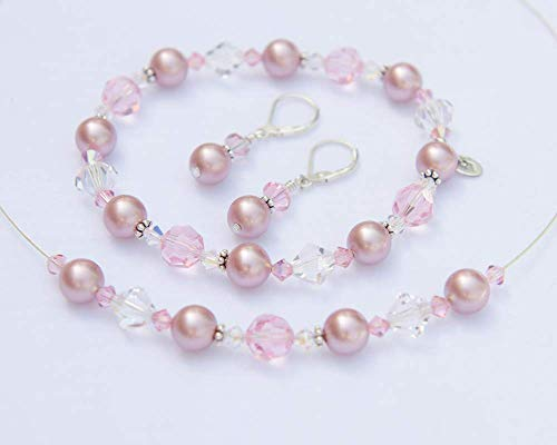 Rose Pink Bridesmaid Jewelry Set with Swarovski® Crystals and - Swarovski Illusion Crystal