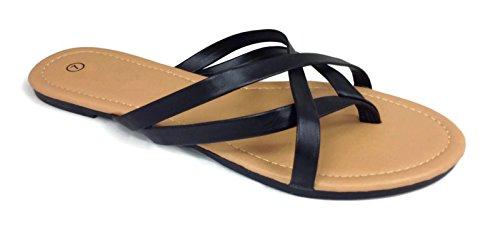 Girls Club Alva Strappy Flip Flops Summer Sandal Criss Cross Straps, Black, 7.5