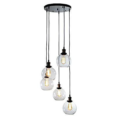 Warehouse of Tiffany LD4683-5 Deeni 5-Light Edison Five Pendant Lamp with Adjustable Length (Includes Bulb)